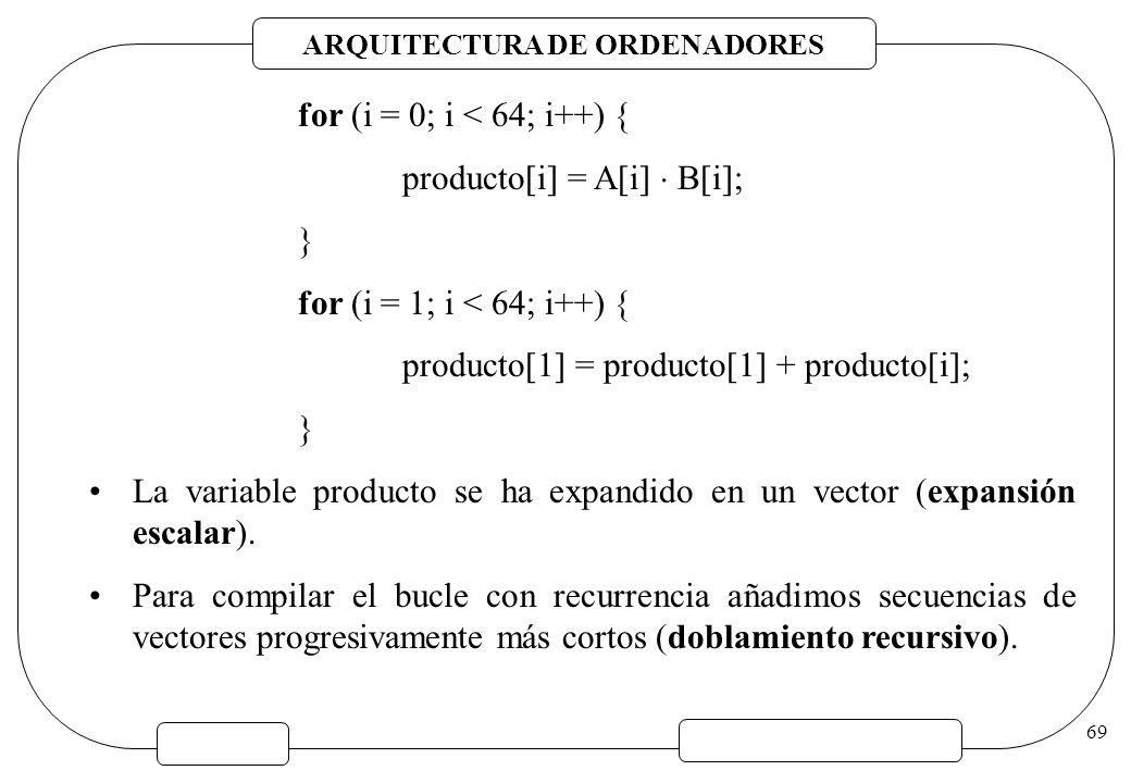 for (i = 0; i < 64; i++) { producto[i] = A[i]  B[i]; } for (i = 1; i < 64; i++) { producto[1] = producto[1] + producto[i];
